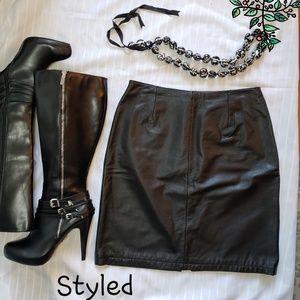 100% leather black skirt